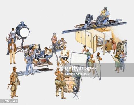 Illustration of actors, technicians, and production team on film set : Stock Illustration