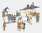 Illustration of actors, technicians, and production team on film set