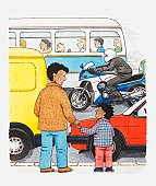 Illustration of adult and child standing together on pavement with busy road ahead of them