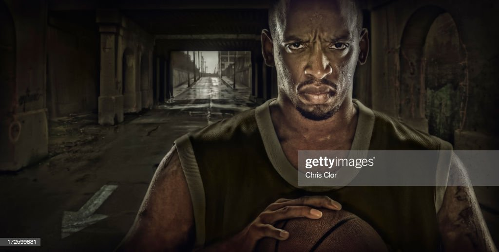 Illustration of African American basketball player standing in tunnel : Stock Illustration