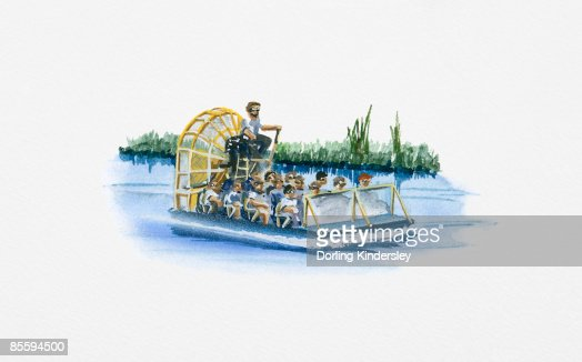 Illustration of airboat carrying passengers on River Amazon : Stock Illustration