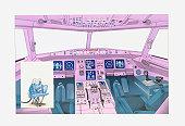 Illustration of airplane cockpit and flight simulator