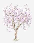 Illustration of almond tree in bloom