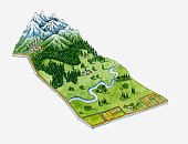 Illustration of alpine vegetation, mountains and lower green grasslands of Switzerland and Austria