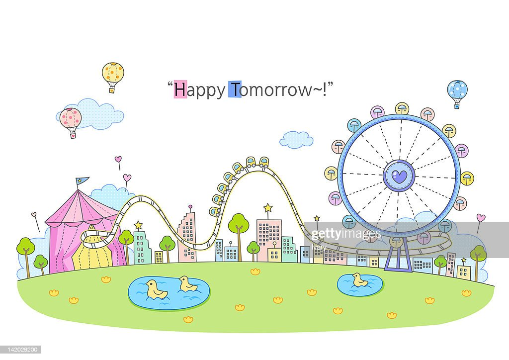 Illustration of amusement park : Stock Illustration
