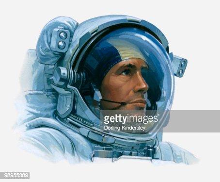 Illustration Of An Astronauts Head Inside Helmet Closeup ...