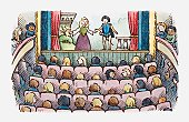 Illustration of an audience watching a play