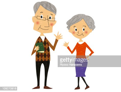 Illustration of an older couple waving : Stock Illustration