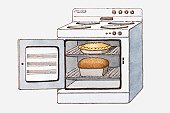 Illustration of an oven with its door open, containing a pie and a loaf of bread