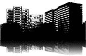 Illustration of an urban scene in black and white with vertical living