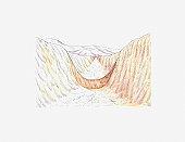Illustration of ancient canal dug by the Hohokam people, Snaketown, Arizona