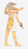Illustration of ancient Egyptian god Horus holding key of life (ankh)