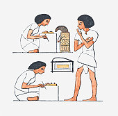 Illustration of ancient Egyptian scribes
