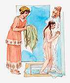 Illustration of ancient Greek girl taking a shower, female slave passing her a towel