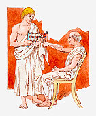 Illustration of ancient Greek teacher and student with abacus