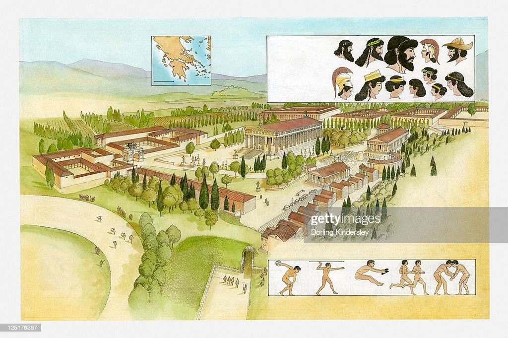 Illustration of ancient Olympia, athletes performing in the Games and heads of Greek Gods : Stock Illustration