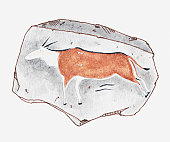 Illustration of ancient rock painting