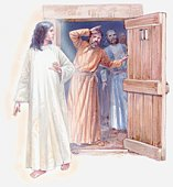Illustration of angel opening door for imprisoned apostles, Acts of the Apostles