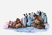 Illustration of Antarctic explorers gathering penguin eggs