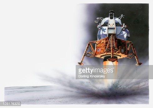 Illustration of Apollo Eagle Lunar module landing on the moon, 1969 : Stock Illustration