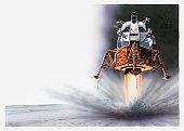 Illustration of Apollo Eagle Lunar module landing on the moon, 1969