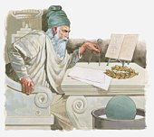 Illustration of Archimedes discovering how to measure volume and working out how things float