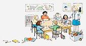 Illustration of art class in classroom
