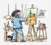 Illustration of artist in his studio painting a still life