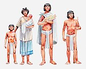 Illustration of Aztec slave family