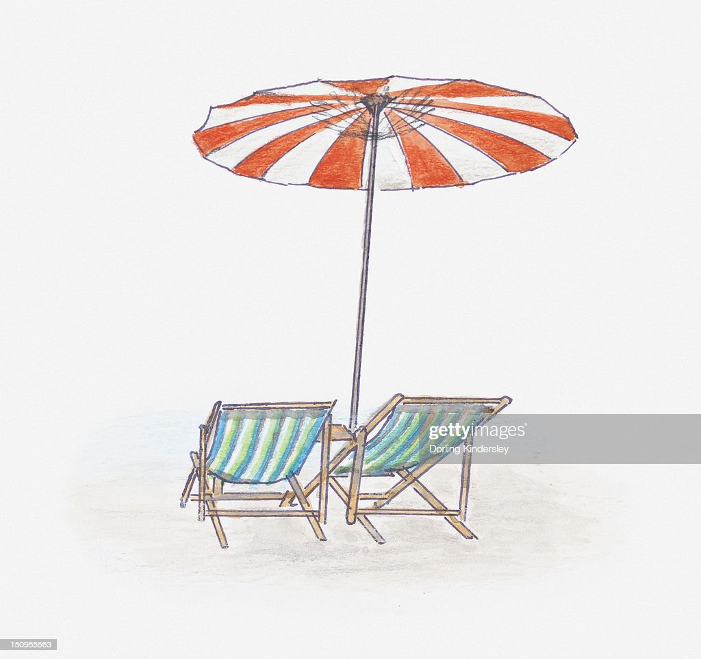 Illustration of beach umbrella providing shade above two deckchairs : Stock Illustration