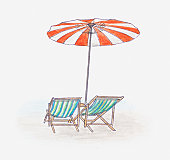 Illustration of beach umbrella providing shade above two deckchairs