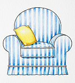 Illustration of blue and white striped armchair and yellow cushion