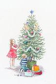 Illustration of boy and girl decorating christmas tree