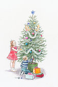 Illustration of boy and girl decorating christmas tree