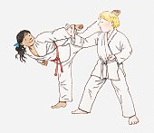 Illustration of boy and girl practising karate