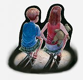 Illustration of boy and girl sitting side by side on fold-away stools, the girl with a teddy under her arm, rear view