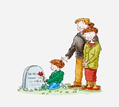 Illustration of boy kneeling in front of a gravestone and holding a flower, a man and woman standing next to him