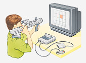 Illustration of boy playing computer game on games console using light gun controller