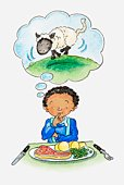 Illustration of boy sitting at table, plate of meat and vegetables in front of him, thought bubble showing picture of a sheep