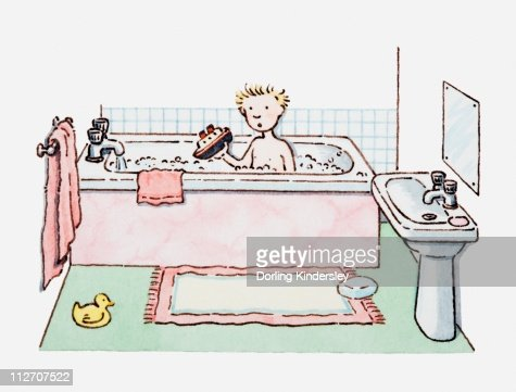 Illustration Of Boy Sitting In Bath Tub Holding A Toy Boat In His Hand Stock