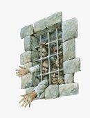 Illustration of British prisoners crowded behind bars