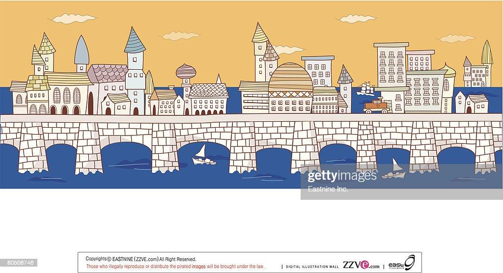 Illustration of buildings on bridge amid river : Vector Art