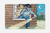 Illustration of burglar climbing out of a window carrying his loot