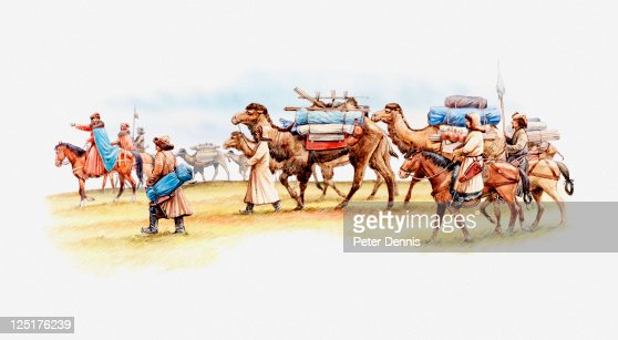 Illustration of camel caravan consisting of camels, horses and Marco Polo's merchants, 13th century : Stock Illustration