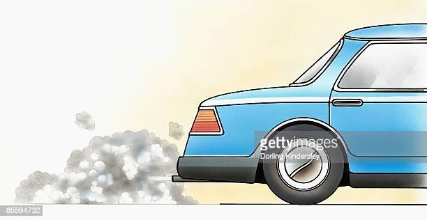 Illustration of car exhaust emitting toxic carbon monoxide fumes