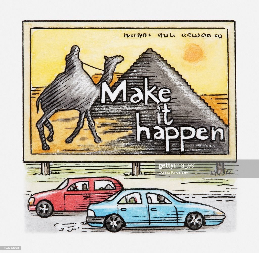 Illustration of cars driving past advertising billboard showing Egyptian pyramids and camel : Stock Illustration