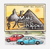 Illustration of cars driving past advertising billboard showing Egyptian pyramids and camel
