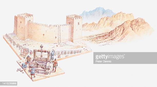 Illustration of catapult firing rock towards city wall of Nicaea, with Crusaders surrounding the walls, and mountains in the background.