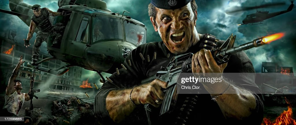 Illustration of Caucasian soldier shooting machine gun in battle : Stock Illustration
