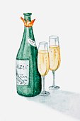 Illustration of champagne bottle and two glasses filled with champagne